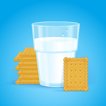 Realistic glass with milk and wheat biscuits on blue
