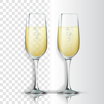 Realistic glass with sparkling champagne