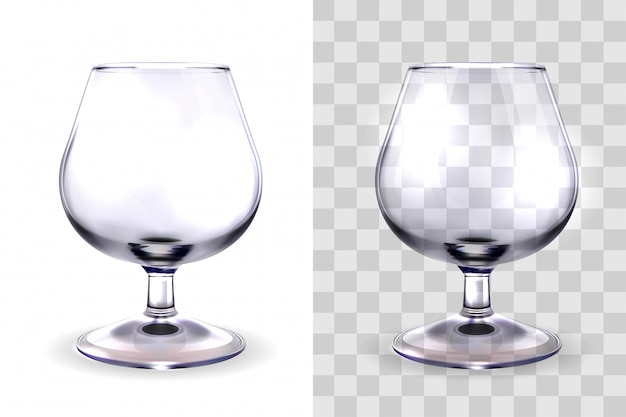 Realistic glasses for alcohol, snifter,  isolated