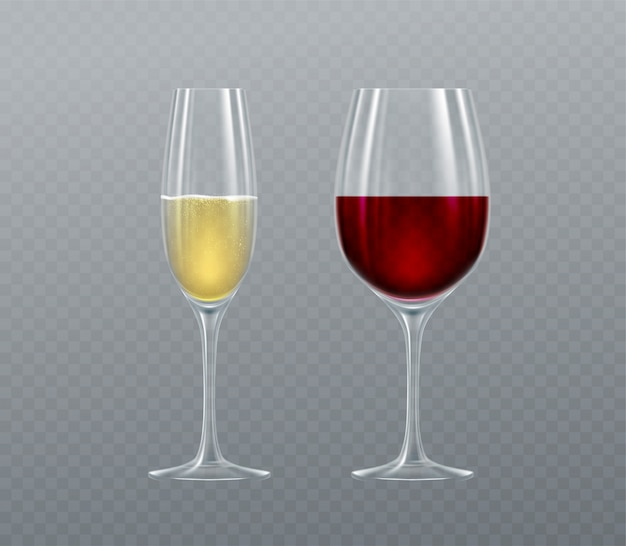 Realistic glasses of champagne and wine
