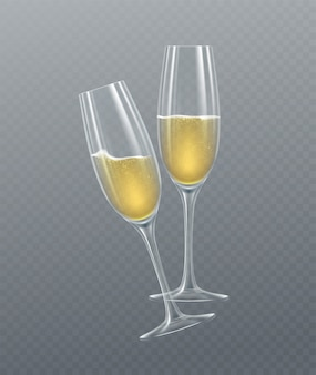 Realistic glasses of champagne