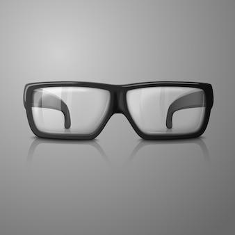リアルなメガネのイラスト。すべての背景に透明なガラス。