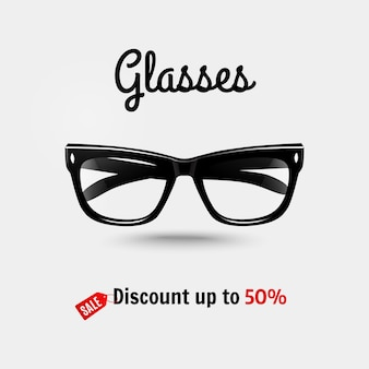Realistic glasses, sale banner.