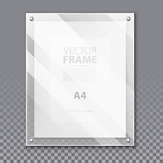 사진 또는 a4 그림에 대한 현실적인 유리 3d 프레임. 종이 페이지와 그림자, 반사와 벽에 간단한 유리 초상화. 박물관 전시를위한 견적 또는 상자에 대한 현대 보드 배경. 광고하는