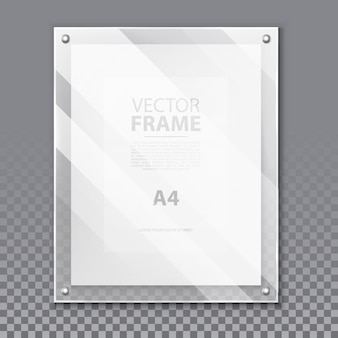 Realistic glassware 3d frame for photo or a4 picture. simple glass portrait on wall with paper page and shadow, reflection. modern board background for quote or box for museum exhibition. advertising