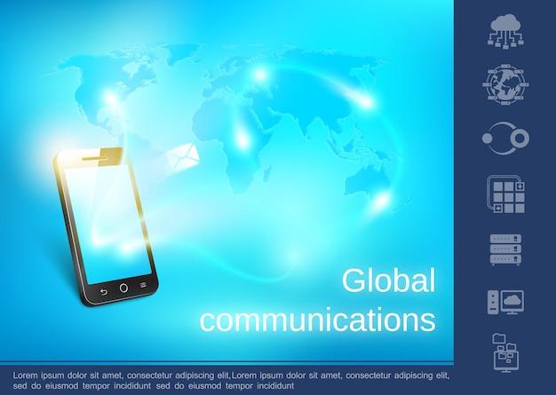 Concetto di comunicazione globale realistico con messaggi inviati al telefono da tutto il mondo mappa digitale blu e illustrazione lineare delle icone,