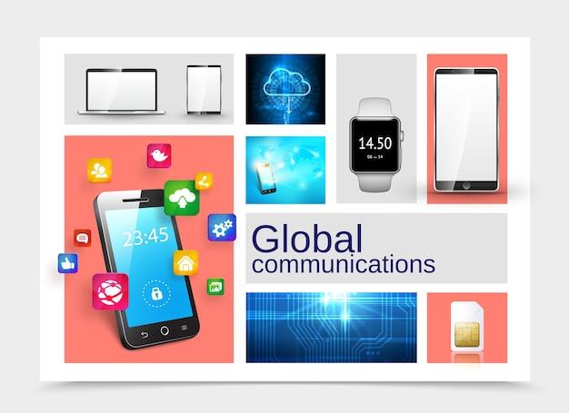 Реалистичная глобальная коммуникационная концепция с телефоном, ноутбуком, планшетом, смарт-часами, сим-картой, цифровым облачным хранилищем, микрочип, текстура, значки мобильных приложений, иллюстрация,