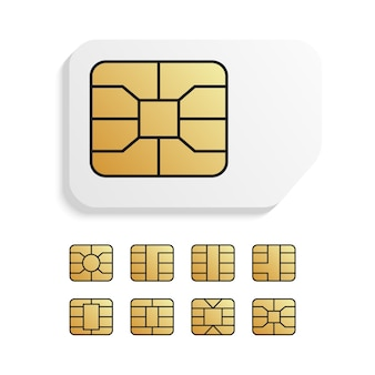 Realistic global phone card with different emv chips