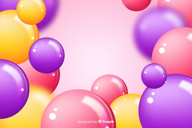 Realistic glossy balls background