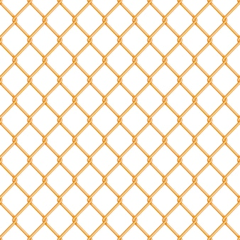 Realistic glossy gold chain link fence seamless pattern on white