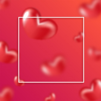 Realistic glossy hearts decorated red and pink background with space for text.