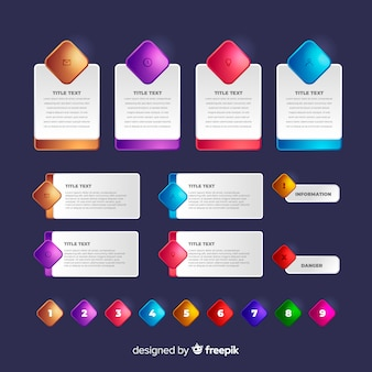 Realistic glossy infographic element collection template