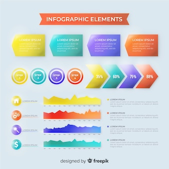 Realistic glossy infographic element collection