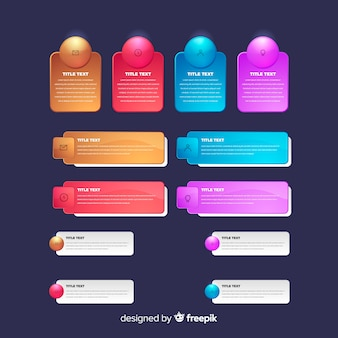 Realistic glossy infographic element pack
