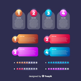Realistic glossy infographic element set