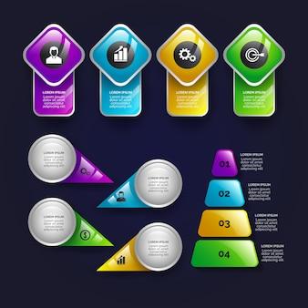 Реалистичные глянцевые инфографики элементы пакета