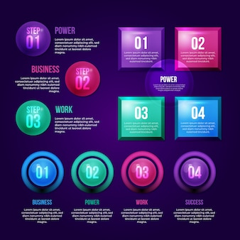 Реалистичные глянцевые инфографики элементы набора