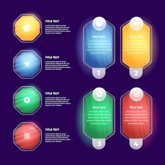 Realistic glossy infographic elements template