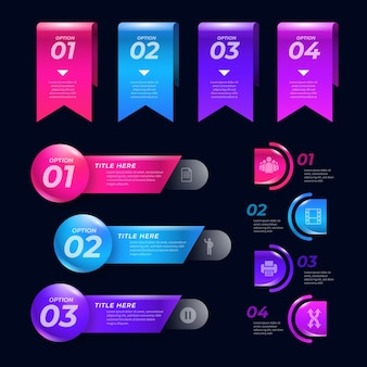 Realistic glossy infographic elements with text boxes