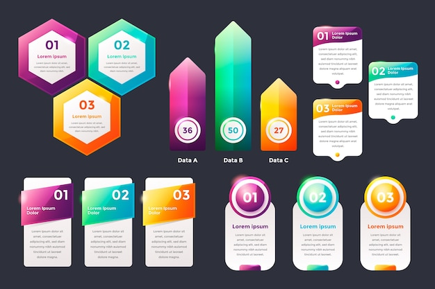 Realistic glossy infographic elements