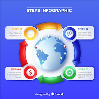 Realistic glossy infographic steps