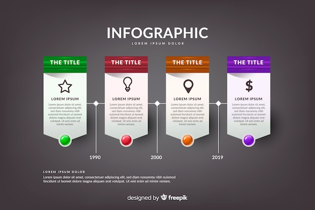 Realistic glossy infographic timeline