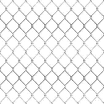 白の現実的な光沢のある金属チェーンリンクフェンスシームレスパターン