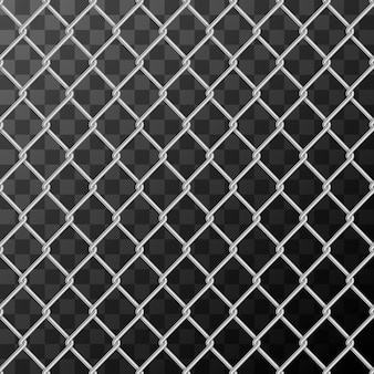 Realistic glossy metal chain link fence seamless pattern on transparent