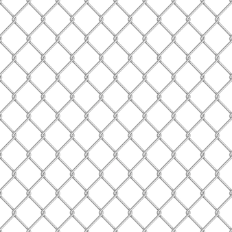 Realistic glossy metal chain link fence seamless pattern on white