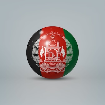Realistic glossy plastic ball with flag of afghanistan