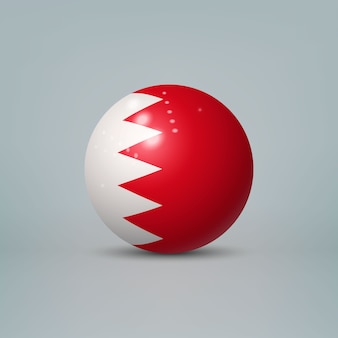 Realistic glossy plastic ball with flag of bahrain
