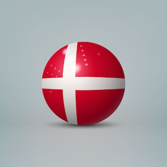 Realistic glossy plastic ball with flag of denmark