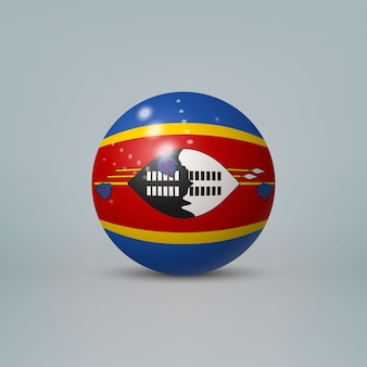 Realistic glossy plastic ball with flag of eswatini