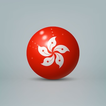 Realistic glossy plastic ball with flag of hong kong