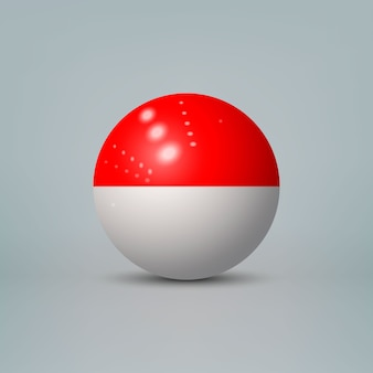 Realistic glossy plastic ball with flag of indonesia