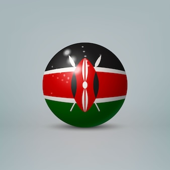 Realistic glossy plastic ball with flag of kenya