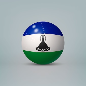Realistic glossy plastic ball with flag of lesotho