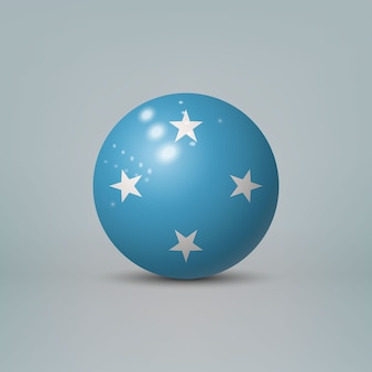 Realistic glossy plastic ball with flag of micronesia