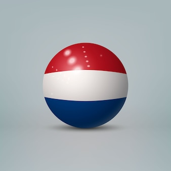 Realistic glossy plastic ball with flag of netherlands
