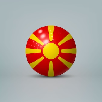 Realistic glossy plastic ball with flag of north macedonia