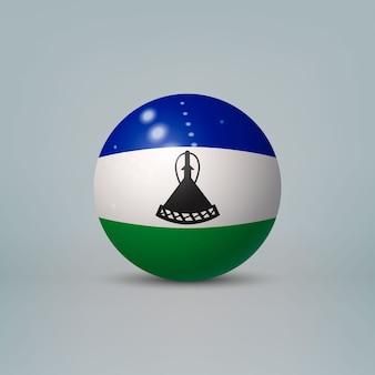 레소토의 국기와 함께 현실적인 광택 플라스틱 공