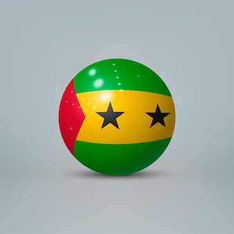 Реалистичный глянцевый пластиковый шар с флагом руанды