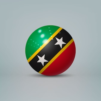 Realistic glossy plastic ball with flag of saint kitts