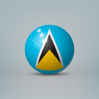 Realistic glossy plastic ball with flag of saint lucia