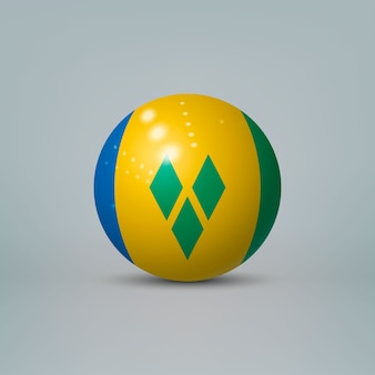 Realistic glossy plastic ball with flag of saint vincent