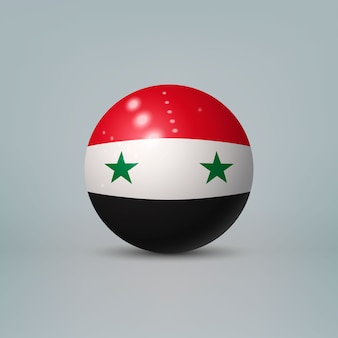 Realistic glossy plastic ball with flag of syria
