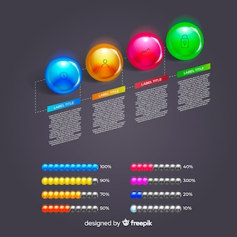 Realistic glossy plastic infographic element collection