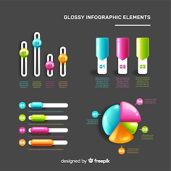 Realistic glossy plastic infographic elements