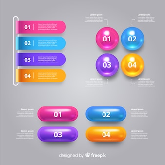 Realistic glossy plastic infographic template