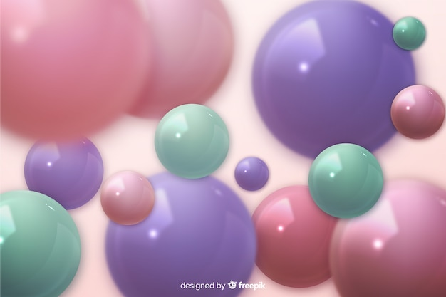Realistic glossy plastic spheres background
